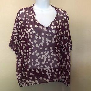 Lush v neck short sleeve Popover Blouse shirt